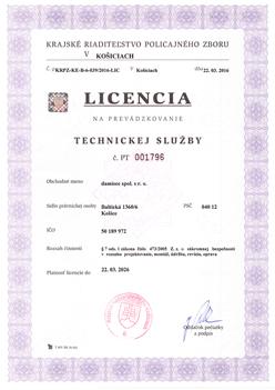 Licencia na poskytovanie Technickej služby